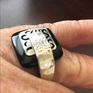 Silpada Jewelry - Silpada Sterling Silver Black Agate Ring Size 7